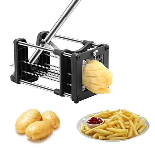 Meshist French Fry Cutter Potato Chipper with 2 Interchangeable Stainless Steel Blades, Vegetable slicer for Potatoes Carrots Cucumbers for Home Kitchen