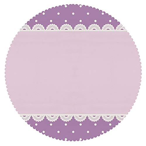 iPrint Personalized Round Tablecloth [ Mauve Decor,Old Fashion Ornate Lace Pattern with Classical Polka Dots Background Image,Lilac Lavender ] Decorative Ideas -