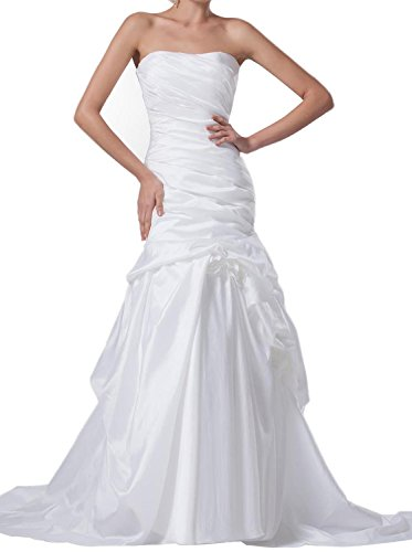 Albizia Mermaid/Trumpet Taffeta Strapless Dropped Waist Wedding (Dropped Waist Wedding Dress)