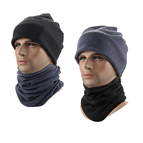 Neck Unisex Gaiter (Fleece Neck Warmer Gaiter Winter Ski Face Mask Beanie Hat Skull Cap For Men And Women Outdoor Sports ( 2 Pack, Black&Blue ))