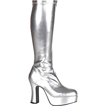 fd3a36e0dab89 60s 70s Halloween Silver Abba Platform Boots Size 7.5: Amazon.co.uk ...