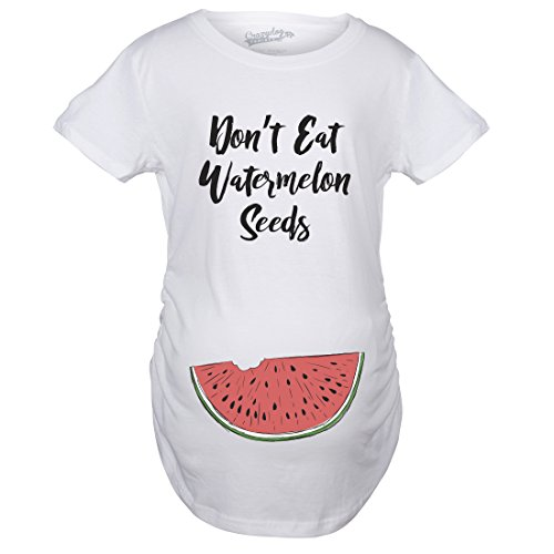 Crazy Dog T-Shirts Maternity Don't Eat Watermelon Seeds Tshirt Funny Summer Pregnancy Tee (White) - 3XL