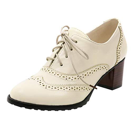 UOKNICE Fashion Women' Lace Up Hollow Shoes Oxford Shallow Mouth Single Shoes Block Heel Shoes(Beige, CN 35(US 5))