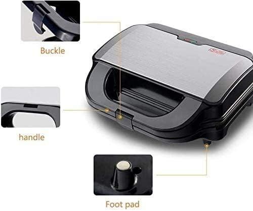 Zyyqt Brotbackmaschine, 2-Scheiben Non-Stick Eisenplatten automatische Temperaturregelung mit Vier Backbleche Edelstahl Waffeleisen