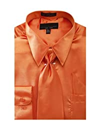 Men's Solid Color Satin Dress Shirt