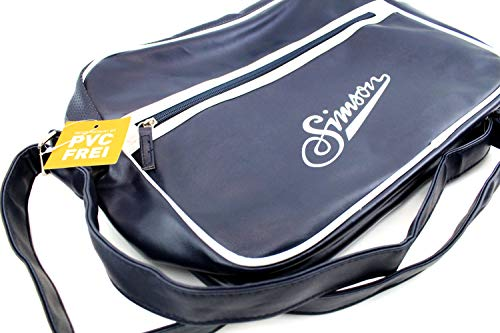 Simson axelväska – retro väska med dragkedja och axelrem och Simson berlock med shoppingfrakt
