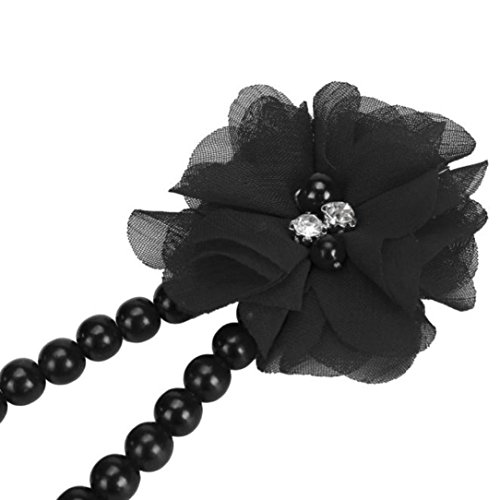 DZT1968 Baby Girl Pearl Chiffon Flower Foot Jewelry Shoes Barefoot Sandals (Black)