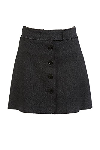 Hache Gray Tweed Button Front Mini Skirt 44