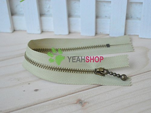 (Antiqued Brass Metal Handbag Zippers - Olive Green - 20cm / 8 inches (ZP20-5-4) - 5pcs )