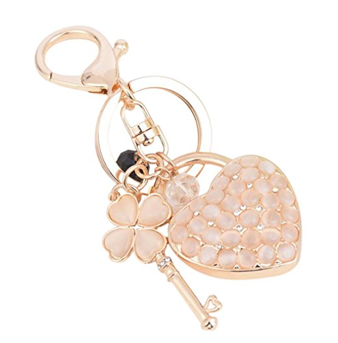 Qinlee Heart-shaped and Four-leaf Clover Keychain Crystal Elements Key Ring Female Bags Pendant Hanging Decoration (Clover Key Pendant)