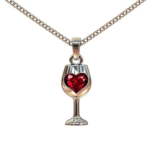 Braceus Women Vintage Faux Ruby Love Heart Wine Glass Pendant Chain Necklace Jewelry Necklace for Women New Circle Full Round Pendant Chain Minimalist Jewelry Mothers Day Jewelry Gift Silver ()