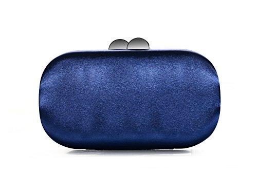 DMIX Womens Satin Silk Hard Case Box Clutch Evening Bags and Clutches Dark Navy Blue