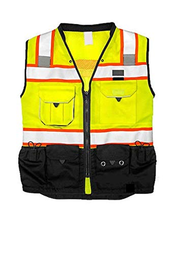 ML Kishigo Vest Mens Class 2 Black Series Serveyors Utility Pockets Safety Vests Premium Black Series Serveyors Vest (4X-Large, Yellow/Black)