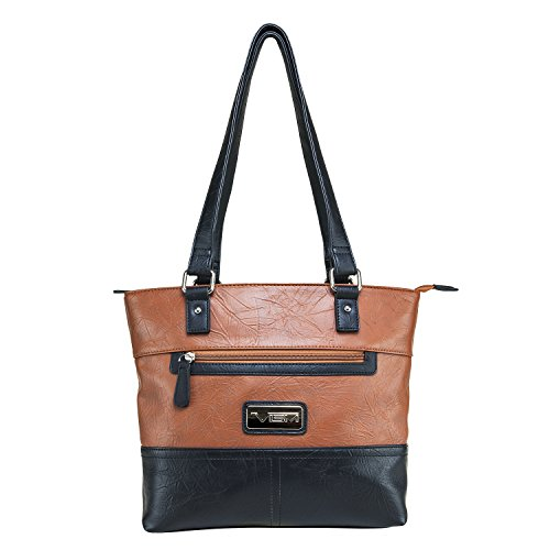 Concealed Carry Purse - Conceal Carry Front Zipper Tote by VISM (Black/Brown)