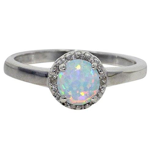 Elizabeth Jewelry Simulated Opal Diamond Round Ring .925 Sterling Silver Rhodium Finish