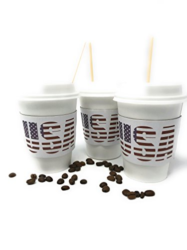 USA American Flag Disposable Coffee Cups Pack Of 50 Protective, Insulating Sleeves - Secure Cappuccino Lids - 12oz Capacity - For Travels, Parties & Bars (USA)