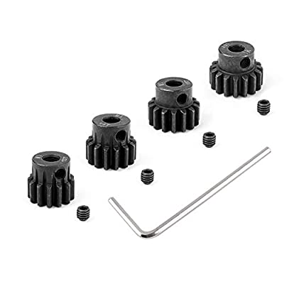 Hobbypark Metal Steel Mod 1 Pinion Gear Set 5mm Shaft Hole 13T 14T 15T 16T Motor Gears Kit for RC Car (4-Pack): Toys & Games