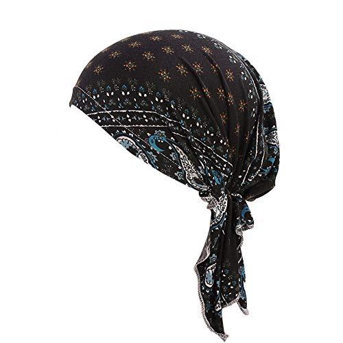 (Fiaya Unisex Silky Durag Hats,Amoeba Viking Hat,Straps Headwraps Pirate Cap Turban 360 Waves Hats Cycling Caps Chemotherapy Hat (Black A05, 1PC))