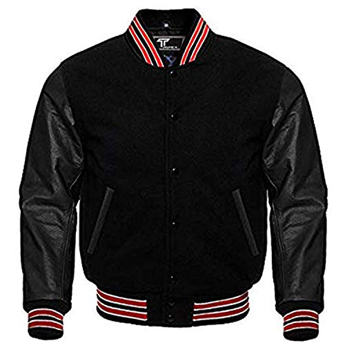 Letterman Baseball School College Bomber Varsity Jacket Black Wool & Black Genuine Leather Sleeves in Red Trimming (Black/Red/White, Small)
