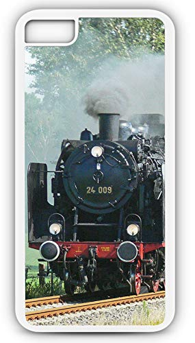 iPhone 6s Case Steam Locomotive Train Railroad Hobo Customizable by TYD Designs in White Plastic Black Rubber Tough Case ()