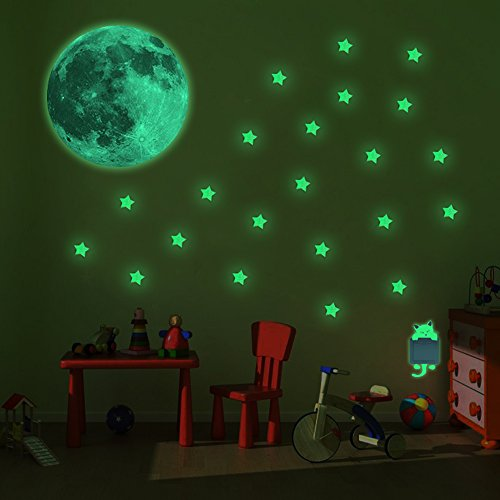 TISHCARE Glow in the Dark Stars, Moon and Kitty Set; 100 Stars, 1 Big Moon, 1 Kitty; Apply Easily with Self Adhesive; Firm Grip; Soft Glow; Ideal for Ceiling, Room (Kitty Star)