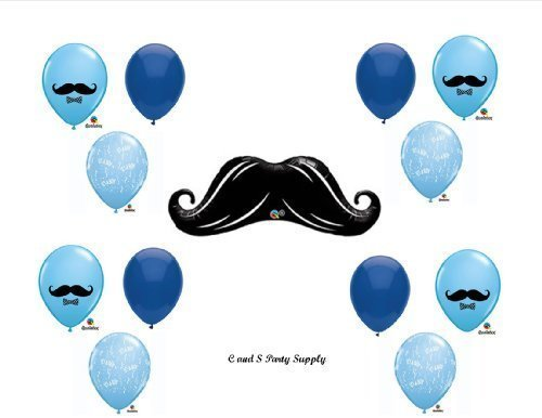 LITTLE MAN MUSTACHE BABY SHOWER Balloons Decorations Supplies....13 pieces! by Anagram (Mustache Baby Shower Supplies)