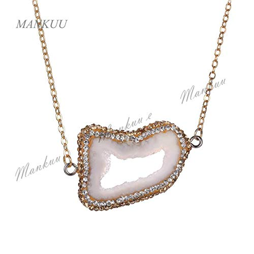 Hot Irregular Shape Pendant Brazil Agates Geode Micro Cz Paved Pendant Necklace Women Fashion Jewelry Charm Pendant