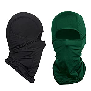 Nordic Balaclava 2-Pack Face Mask Motorcycle Helmets Liner Ski Gear Neck Gaiter Ski Mask Accessories by The Friendly Swede (Green Black)