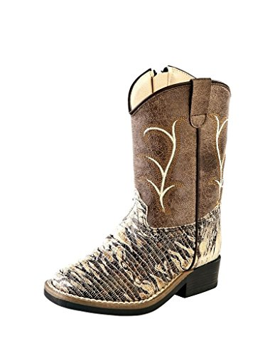 Old West Kids Boots Unisex Square Toe (Toddler) Chocolate Lizard Print Boot 5.5 Toddler ()