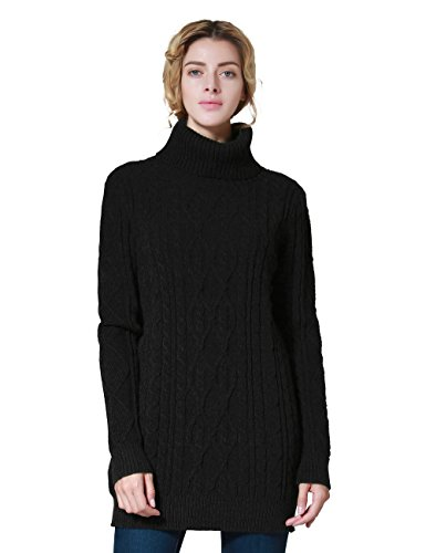 ninovino Women's Casual Cable Knit Turtleneck Sweater Jumper Black-M