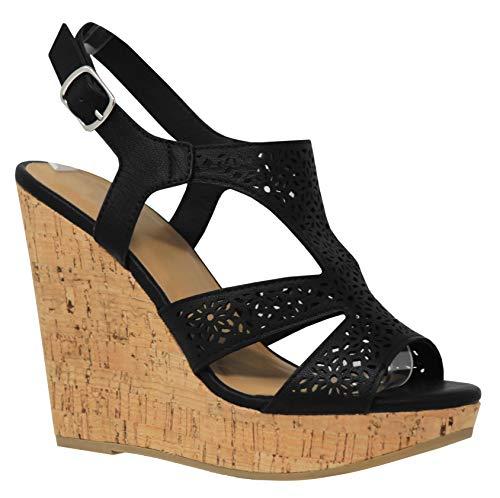 MVE Shoes Women's Fashion Cutout Ankle Strap Flower Deco Platform Sandals, Succory Black NB - Flower Sandals