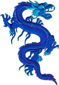 Blue Embroidered Dragon (Application Royal Blue Dragon Patch)