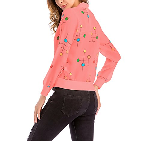 Vintage Elegante Manica Rosso Primaverile Donna Giacche Casual Pois Lunga Moda Cardigan Giubbotto Outdoor Giacca Zip A Con SPaqzBxw