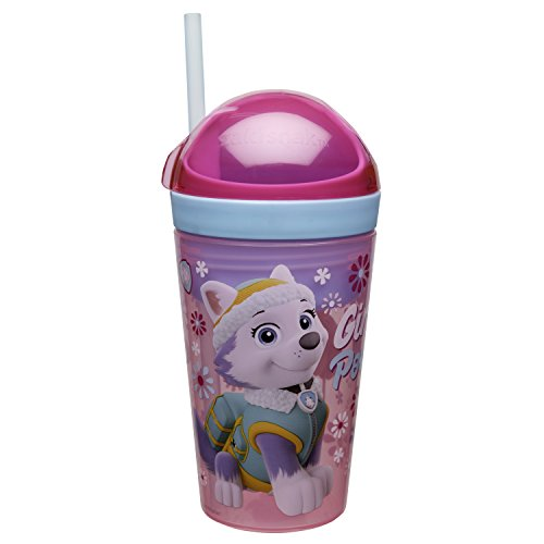 Zak Designs Paw Patrol ZakSnak All-In-One Drink Tumbler + Snack Container For Toddlers - Spill-proof 4oz Snack Container Screws Securely Onto 10oz Tumbler With Accessible Straw, Paw Patrol Girl