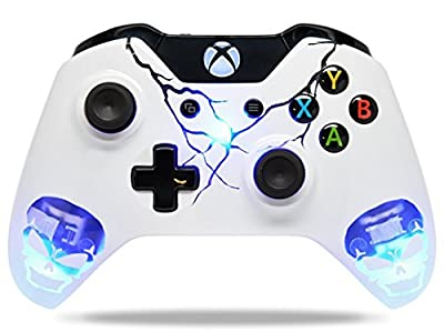 """Skulls Blue"" Xbox One Custom UN-MODDED Controller Exclusive Illuminating Design"