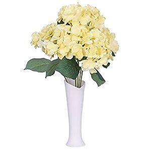 Lvydec Artificial Hydrangea Flowers, Silk Hydrangea Bouquet with 6 Full Flower Heads and Dark Green Leaves for Wedding, Flower Arrangements, Centerpiece (Yellow) 9