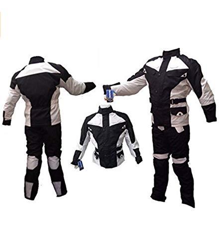 AZ Herren/Damen Motorrad-Anzug, Cordura, 2-teilig, 100% wasserdicht, schwarz und weiß, alle Größen