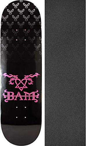 Margera Decks Bam Skateboard (Element Skateboards Bam Margera Heartagram Bam Black/Pink Skateboard Deck - 8.5