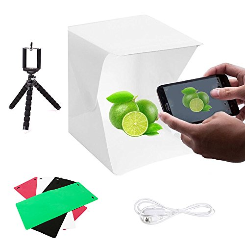 Photo Studio Box, ZIKO Foldable & Portable Photo Light Box Photo Lighting Studio Kit Mini Photo Shooting Tent with Light with 4 Colors Backdrops Phone Tripod Switch USB Cable and Pouch 8.8x9.6x9.8in by ZIKO