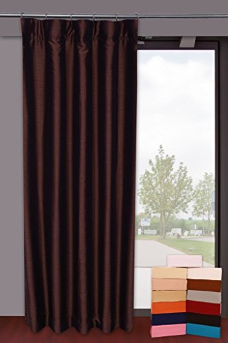 Dupioni Faux Silk Curtains from Zappy Cart with 100% Blackout Lining, Each 51' (130 cm) Wide X 96' (244 cm) Long, Hook Top, Color - Brown.