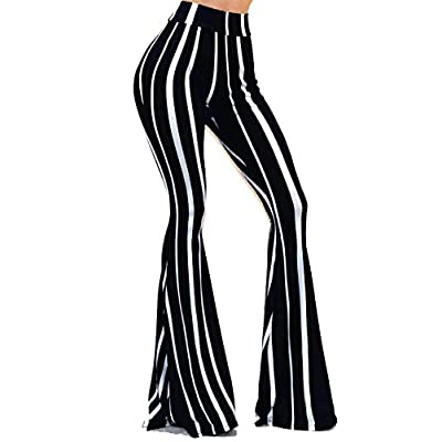 Vivicastle Women's USA Boho Solid Hippie Wide Leg Flared Bell Bottom Pants at Women's Clothing store
