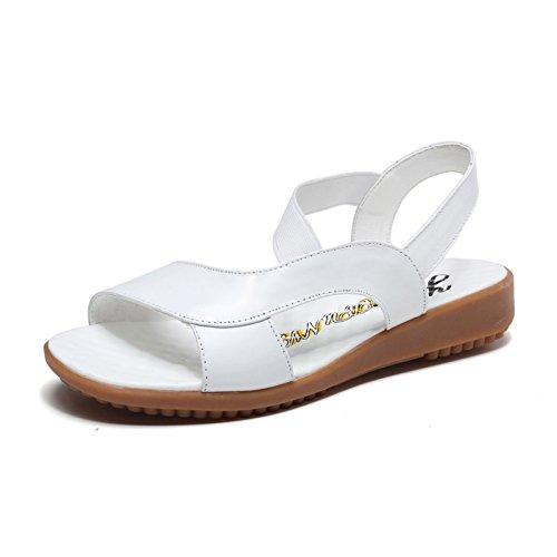 Moda Mujer verano sandalias confortables tacones altos,37 azul White