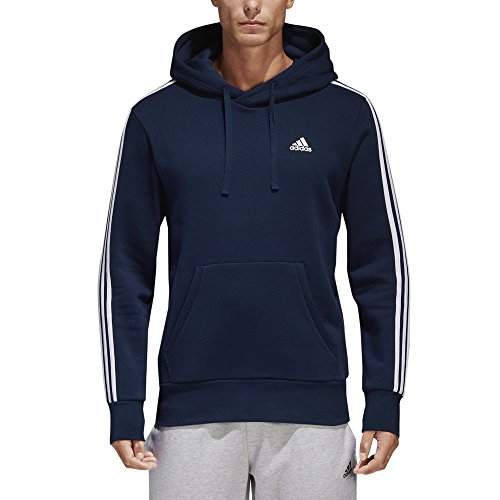 adidas Men's Essentials 3-Stripe Pullover Hoodie, Collegiate Navy/White, Medium