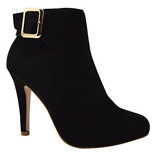 Xelay Womens Chelsea Boots Block Heel Ankle Studded Zip Closure Size UK 3-8 Black Suede