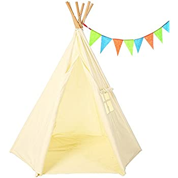 Teepee Tent For Kids - 6 Pole Tipi Design Indoor Tee Pee Tent - 100% Chemical Free - Perfect Christmas Presents for Kids