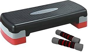 SportPlus Stepbench Aerobic Step/Steppbrett inkl 2 x 1 kg Softhantel, SP-ASP-001