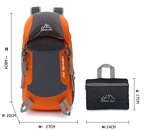 OCCIENTEC 35L Lightweight Packable Durable Travel Hiking Backpack Daypack Water Resistant Travel Backpack -orange