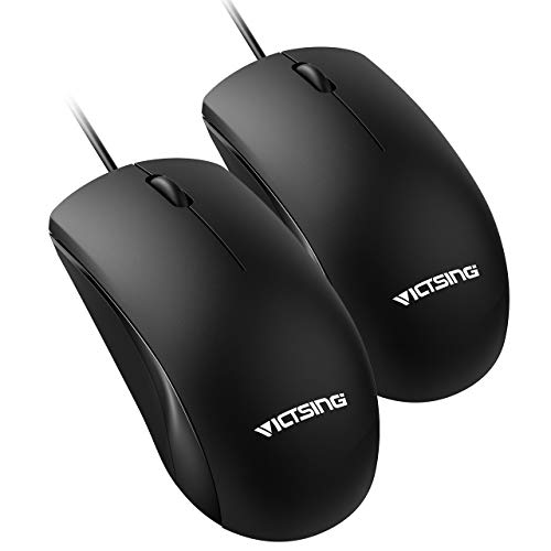 (VicTsing Wired Mouse, Simple USB Mouse Optical Mouse for Computer Laptop, PC, Desktop, Compatible with Windows 7/8/10/XP, Vista and Mac OS (Pack of 2))