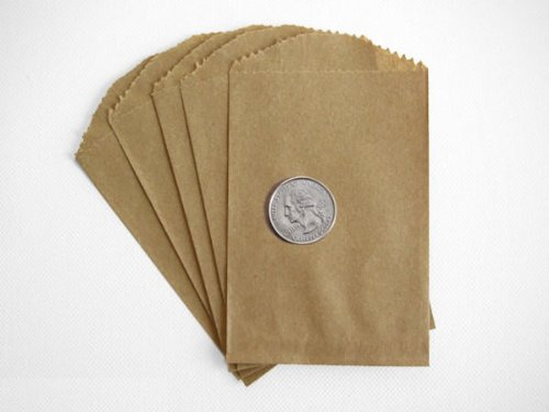 50 Brown Kraft Paper Little Bitty Bags 2.75 X 4 Inches