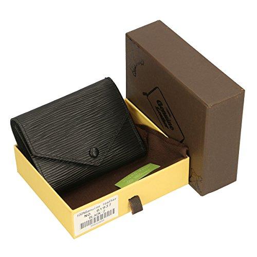 Chicca Borse Geldbörsen aus echtem italienischem Leder 12x9x3 Cm schwarz